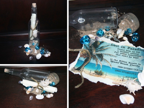 {Lost in Paradise} Message-in-a-Bottle Invitation